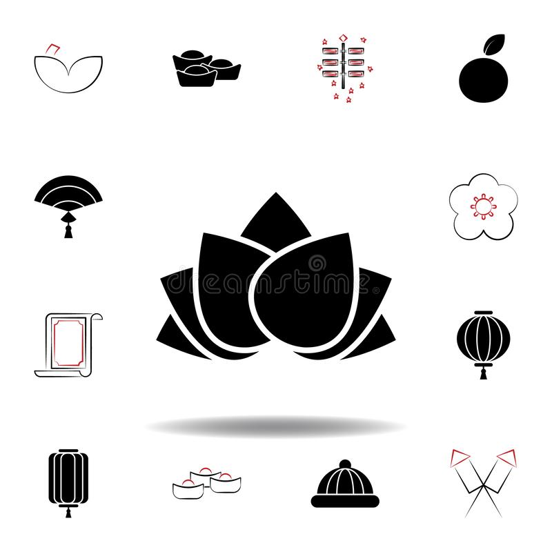 New Year China lotus icon on white background. Set of chinese new year illustration icons. Signs, symbols can be used for web, logo, mobile app, UI, UX vector illustration