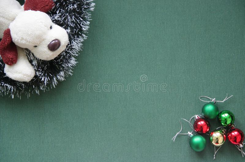 Christmas tinsel and doggy. 2018. stock images