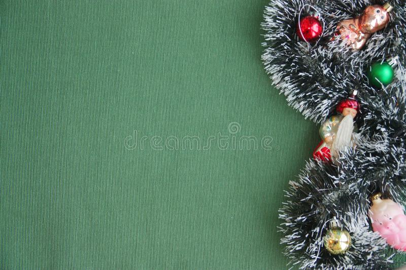 Christmas decorations and rare New Year`s toys. stock photo