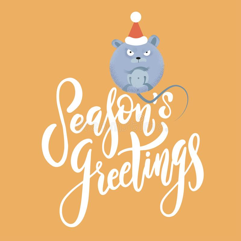 New year and Christmas background with rat - symbol of the year. Simple illustration of round mouse for the greeting card with stock illustration