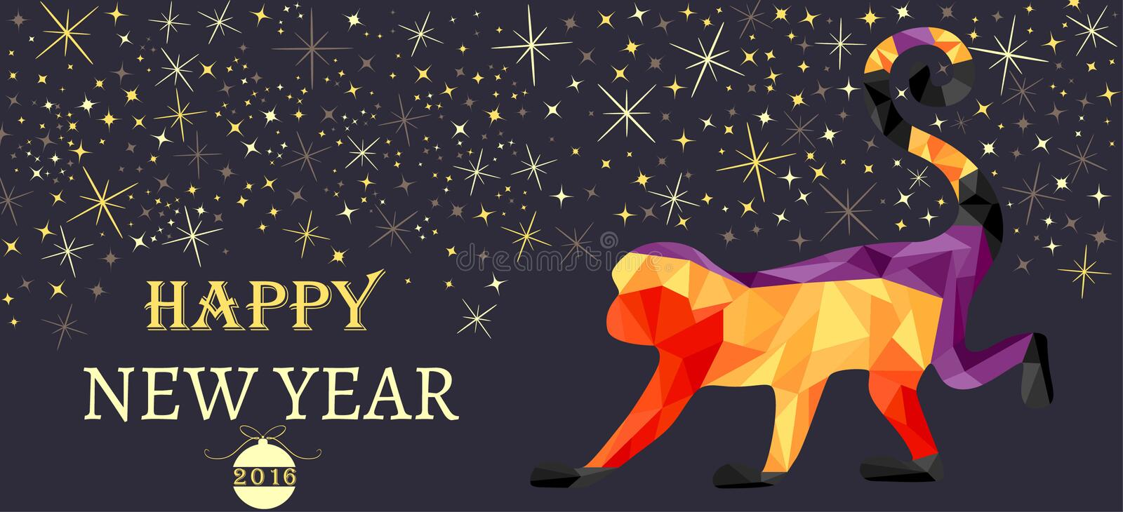 New Year, Christmas banner, symbol of red monkey made from triangles. stock photography