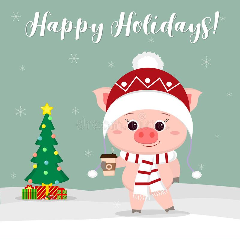New Year and Christmas card. Cute pig in a hat and scarf holding a glass of coffee on the background of winter and snowflakes. stock illustration