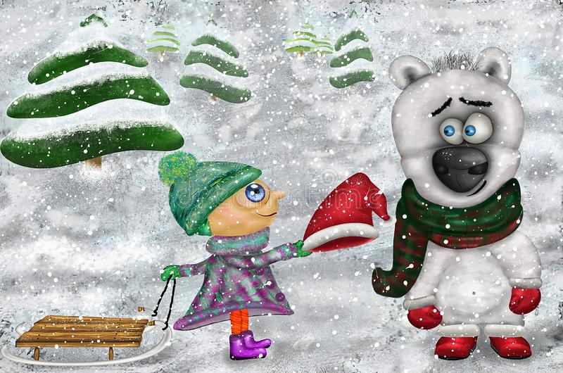 New year christmas card. Illustration girl with a bear. Cute friendship royalty free stock photography