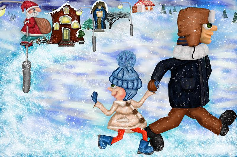 New year christmas card. Illustration girl with a with dad. Cute friendship with Santa Claus royalty free stock photo