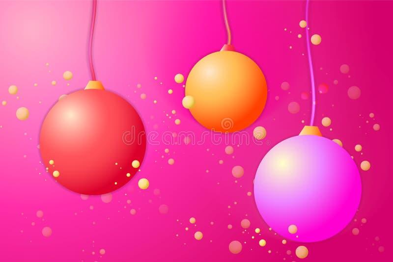 New year christmas 2020 celebration greeting card vector balls decoration royalty free illustration