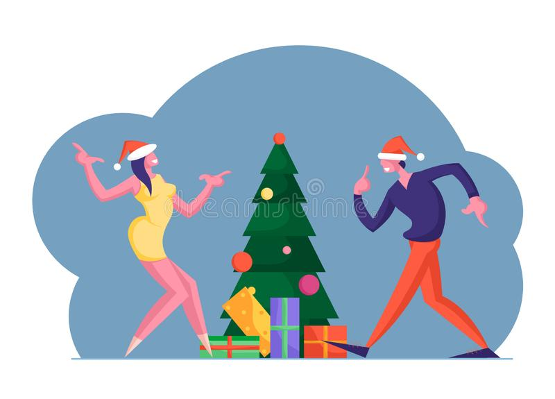 New Year or Christmas Celebration at Work or Home. Happy Colleague Man and Woman Business People Dancing vector illustration