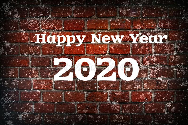 The new year is 2020. Christmas composition, the concept of the New year. Lettering 2020 red background with painted snow and snow vector illustration