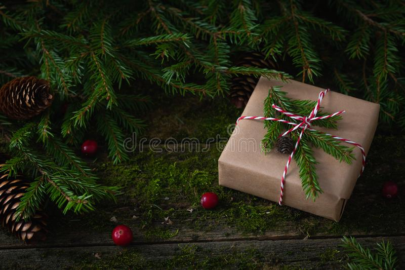New Year Christmas composition with a present wrapped in craft paper on natural moss background. With fresh cranberries, cones, fir-tree branches, zero waste stock photo