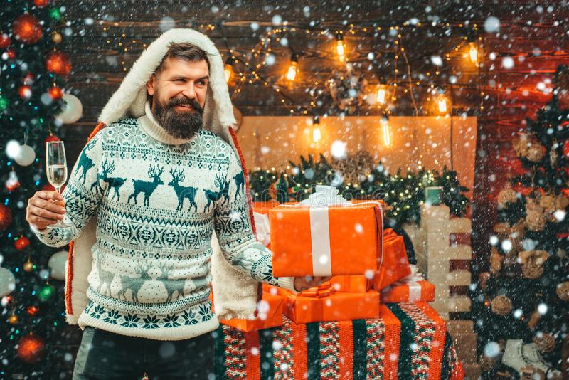 New year christmas concept. Santa in home. Happy new year. Christmas Celebration holiday. Bearded man in Christmas royalty free stock photography