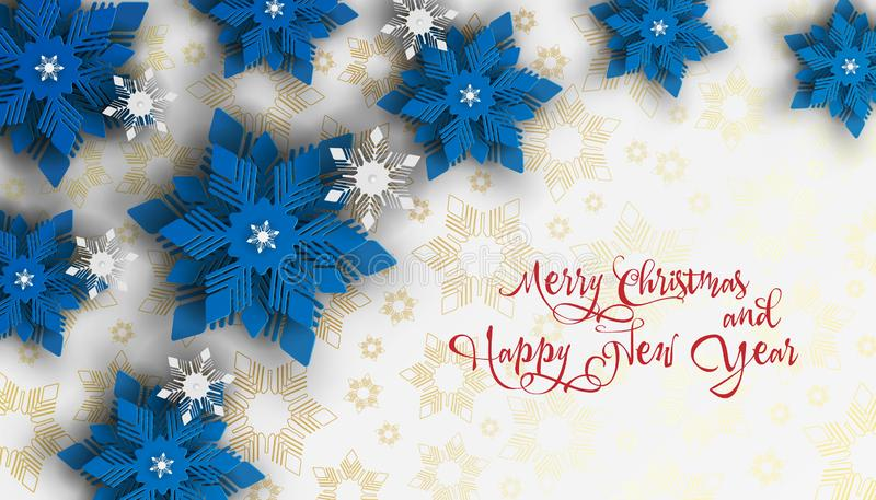 New year 2019 and Christmas design background. Christmas paper cut snowflakes. royalty free illustration