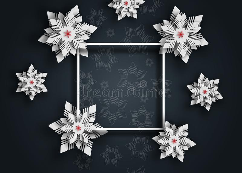 New year 2019 and Christmas design background. Christmas paper cut snowflakes. vector illustration