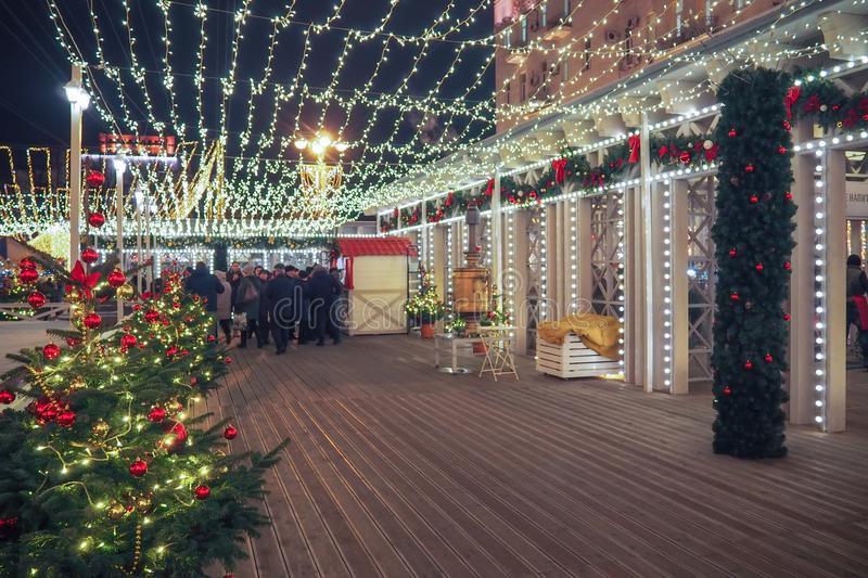 New Year and Christmas Fairs and decorations in the streets of Moscow. New Year and Christmas Fairs and decorations in the streets of Moscow, Russia stock images
