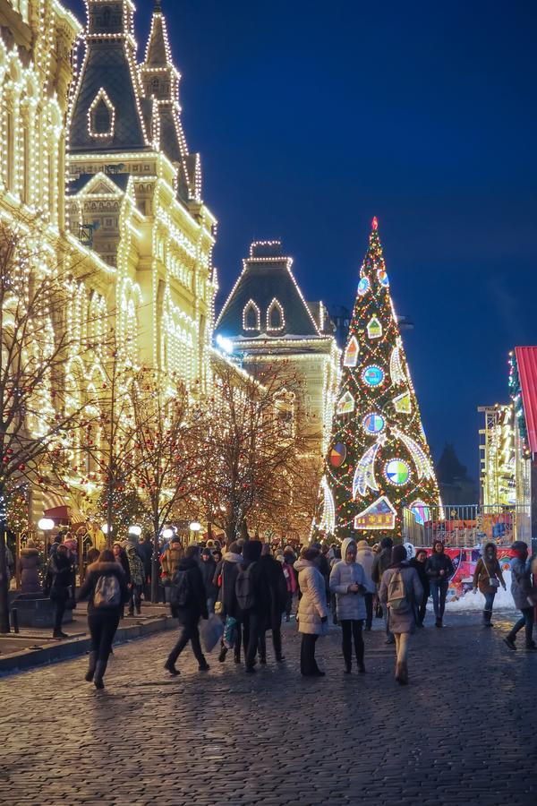 New Year and Christmas Fairs, lights and decorations in the Red Square. MOSCOW, RUSSIA - DECEMBER 29TH 2016: New Year and Christmas Fairs, lights and royalty free stock photography