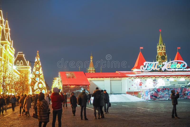 New Year and Christmas Fairs, lights, decorations and a skating-rink in the Red Square. MOSCOW, RUSSIA - DECEMBER 29TH 2016: New Year and Christmas Fairs stock photography