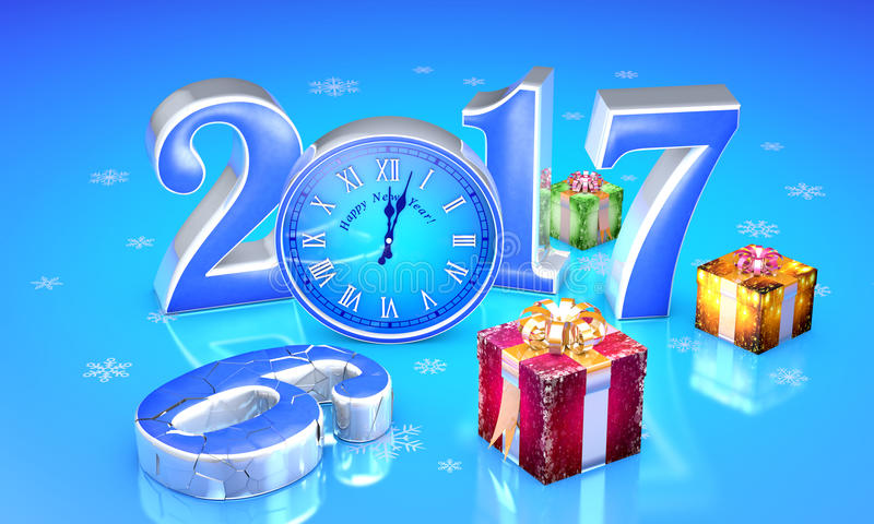 New Year. 2017. Christmas fairy gifts. Beautiful boxes, clock. T. New Year. 2017. Beautiful christmas gifts, clock. The destroyed number six. Available in high vector illustration