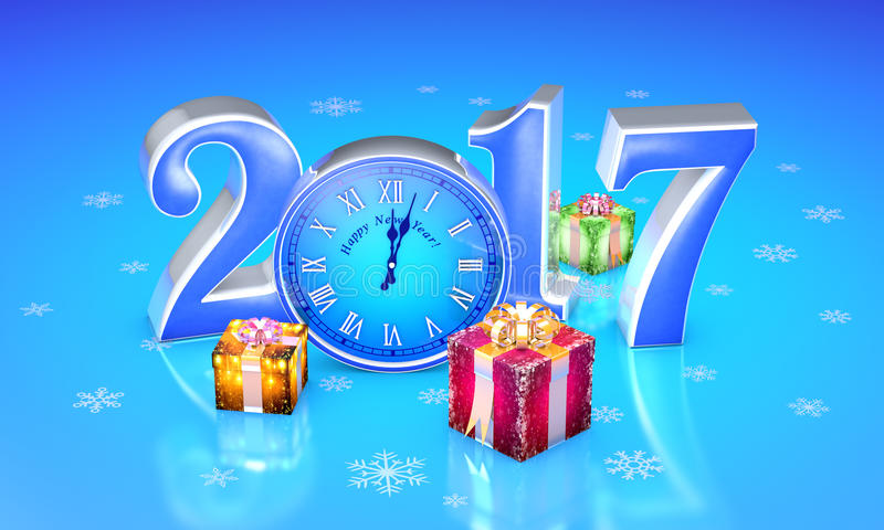 New Year. 2017. Christmas fairy-tale gifts. Beautiful boxes, clock. 3D illustration. New Year. 2017. Beautiful christmas gifts, clock. Available in high stock illustration