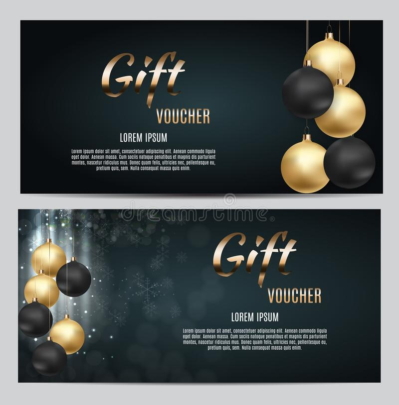 New Year and Christmas Gift Voucher Template Vector Illustration for Your Business royalty free illustration