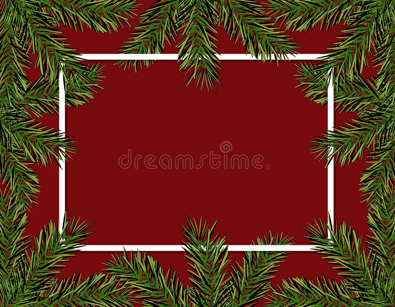New Year Christmas. Green spruce branches in a circle on a red background. Frame for advertising and ads. Isolated vector illustration