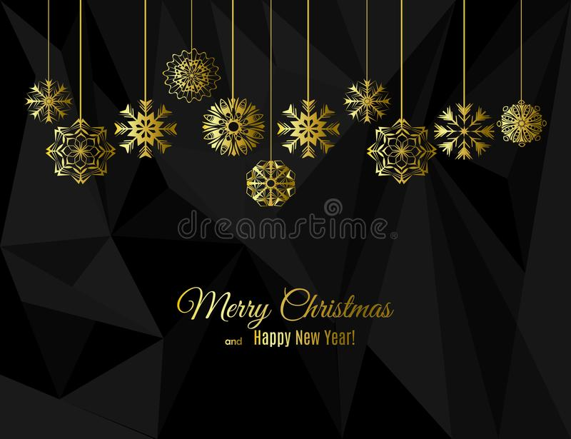 New year and Christmas greeting card with gold snowflakes on strings on a black polygon background stock illustration