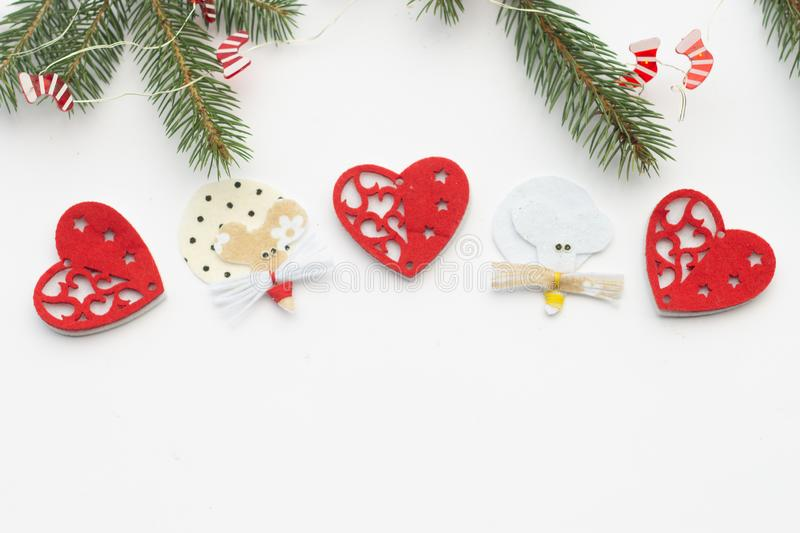 New Year and Christmas 2020. Handmade Rat and New Year`s toys. Christmas pictures, mouse figurine. Christmas rat royalty free stock photography