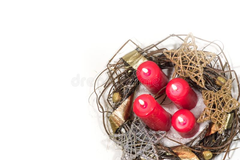 New Year, Christmas holiday card. Christmas photo red candles gold silver stars advent wreath stock photo