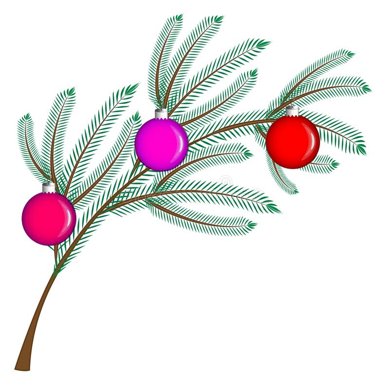New year, christmas, holidays. In the picture there is a fir branch decorated with colorful glass balls on a white background. Vector illustration, graphics stock illustration