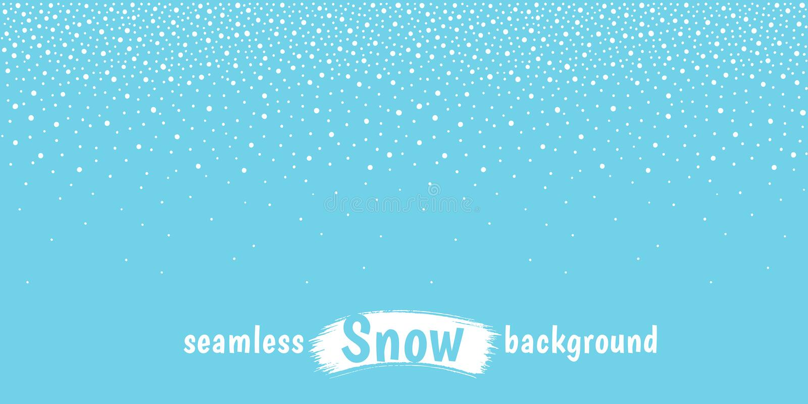 New Year, Christmas horizontal snow, snowflakes dot border. New Year, Christmas elongated, long horizontal border, textured stripe, frame template. Winter royalty free illustration