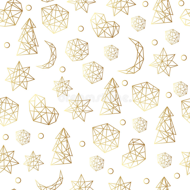 New Year and Christmas luxury gold seamless pattern with stars, balls, noel, moon. Greeting card, invitation, flyer. New Year and Christmas luxury gold seamless stock illustration