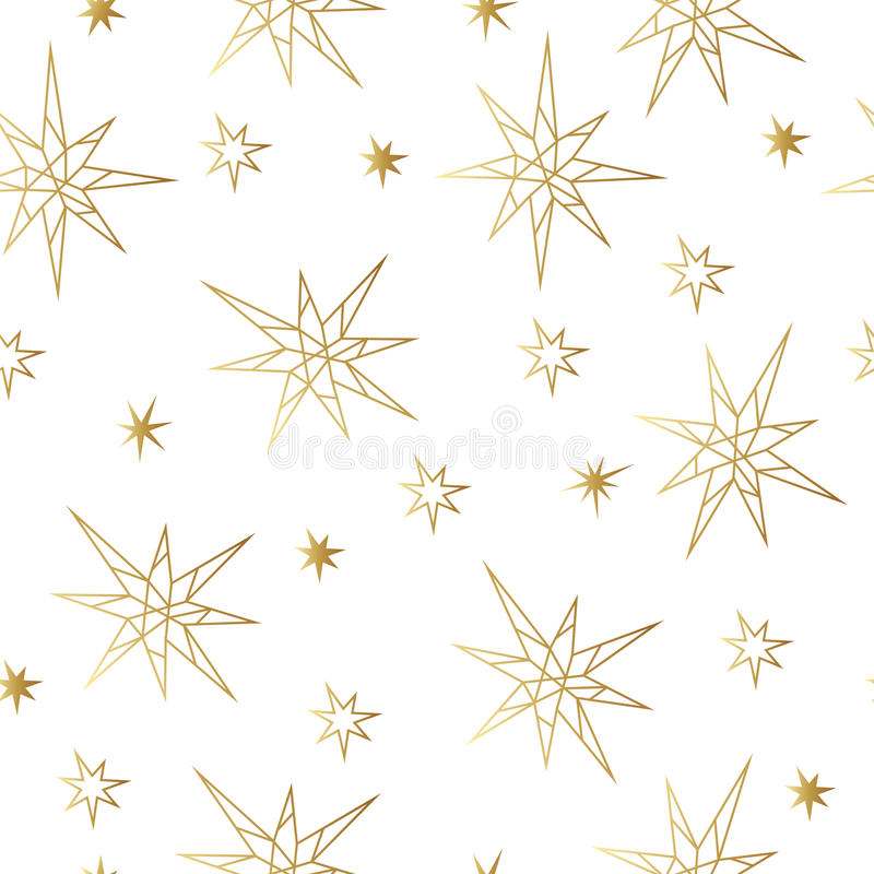 New Year and Christmas luxury gold seamless pattern with stars. Greeting card, invitation, flyer. New Year and Christmas luxury gold seamless pattern with stars vector illustration