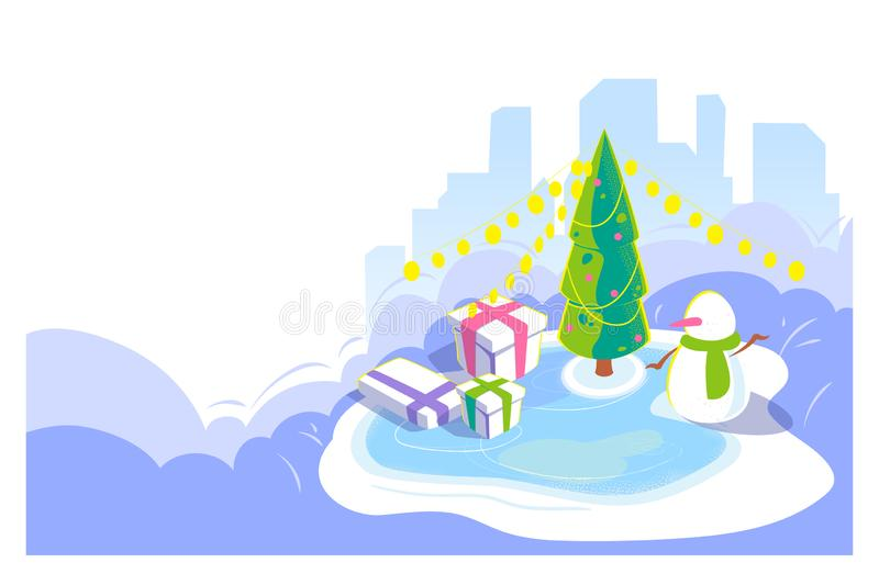 New year and Christmas outdoor scene. Winter cityscape background with snowman and christmas tree, giftbox on ice rink. Cold. Season holydays card. Isometric royalty free illustration