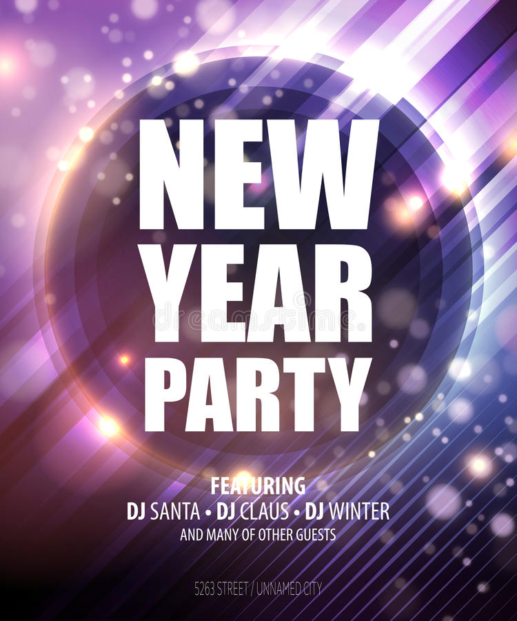 New Year And Christmas Party Poster Template Stock Vector