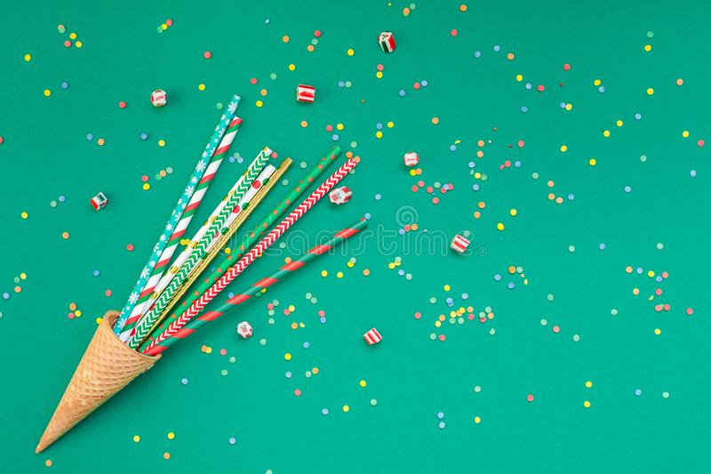 Christmas cocktail party straws in waffle cone stock image