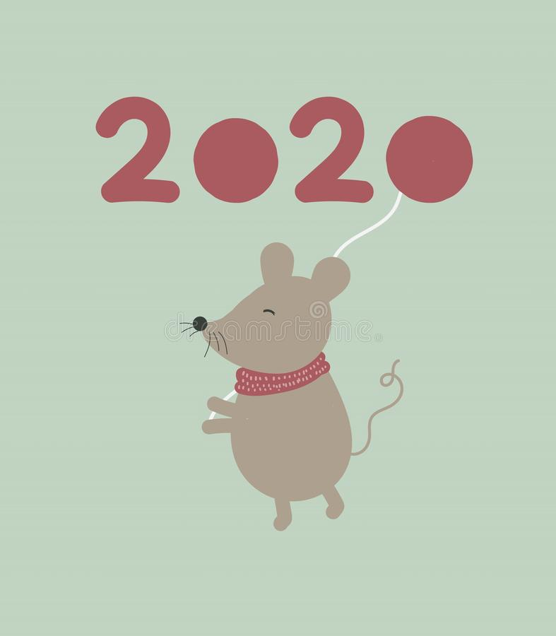 New year 2020 with christmas rat mouse royalty free stock photography