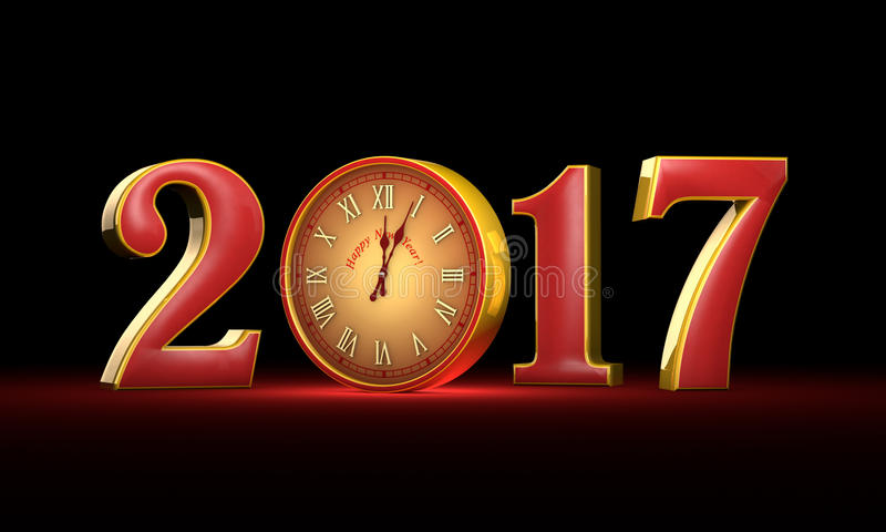 New Year 2017. Christmas. Red and gold figures, midnight. Fabul. Ous clock. Available in high resolution and several sizes to fit the needs of your project. 3D stock illustration