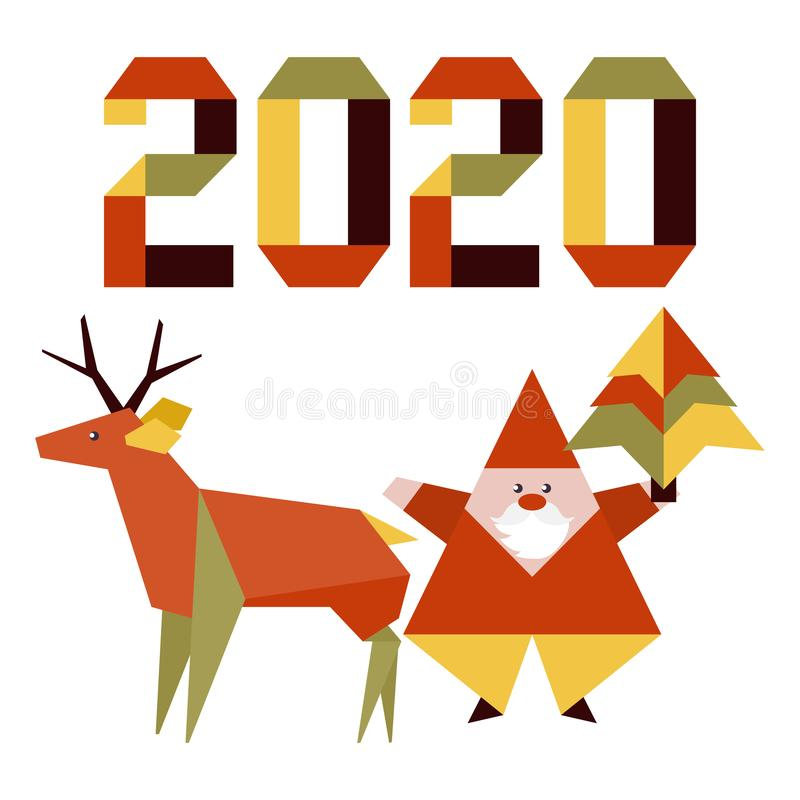 New year 2020 Christmas Santa Claus deer origami royalty free stock image