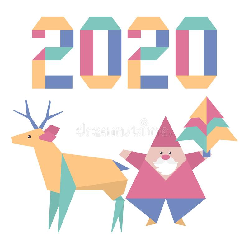 New year 2020 Christmas Santa Claus deer origami. Happy new year 2020, Merry Christmas. Vector illustration with origami 2020 year numbers, Santa Claus, deer vector illustration