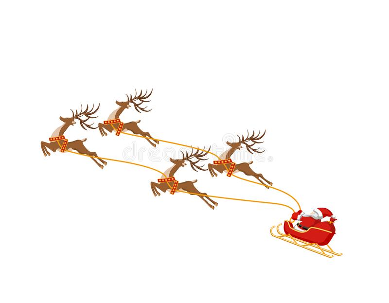 New Year Christmas. Santa Claus on a sleigh drawn by four deer. In color. illustration vector illustration