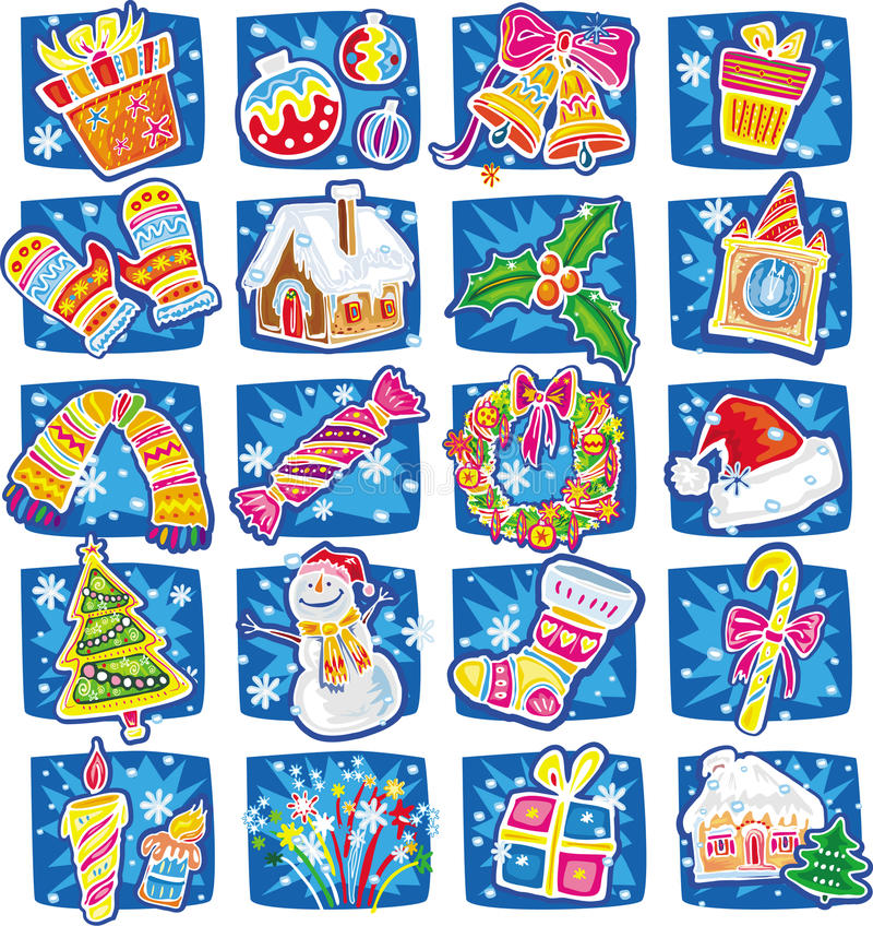 New year and christmas set royalty free illustration