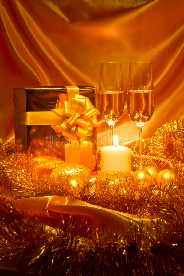 Download New Year Christmas Still Life In Golden Tones Stock Photo - Image: 22404080