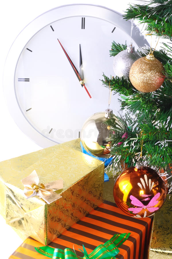 Download New Year, Christmas Tree,gift Boxes,clock.Isolated Stock Image - Image: 23022925