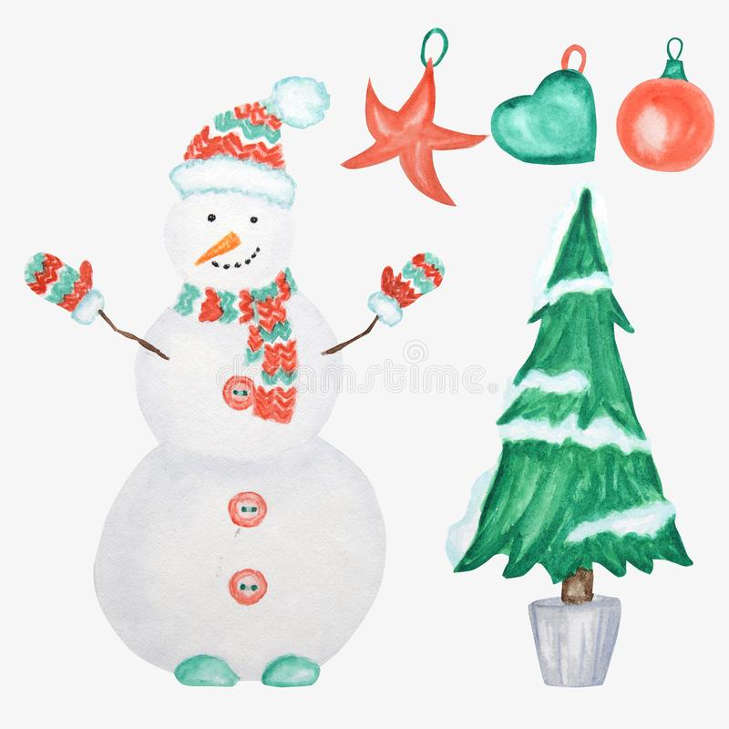New Year Christmas tree and Snowman on white background. Hand drawn vintage card design. Watercolor Winter nature vector illustration