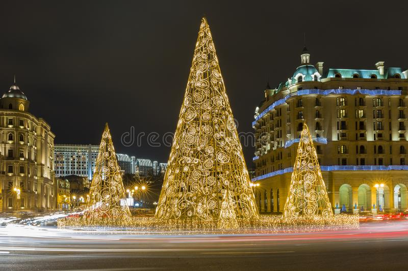 New Year, Christmas tree on the square stock image