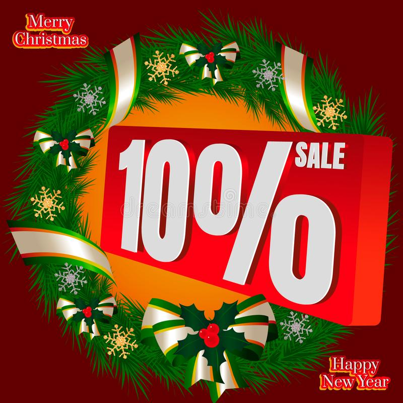 New year. Christmas tree wreath with a red badge on sale 10 percent`s royalty free stock photography