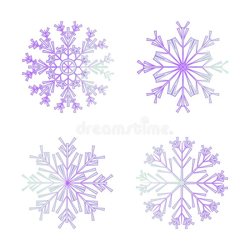 New Year and Christmas two-color snowflakes. stock illustration