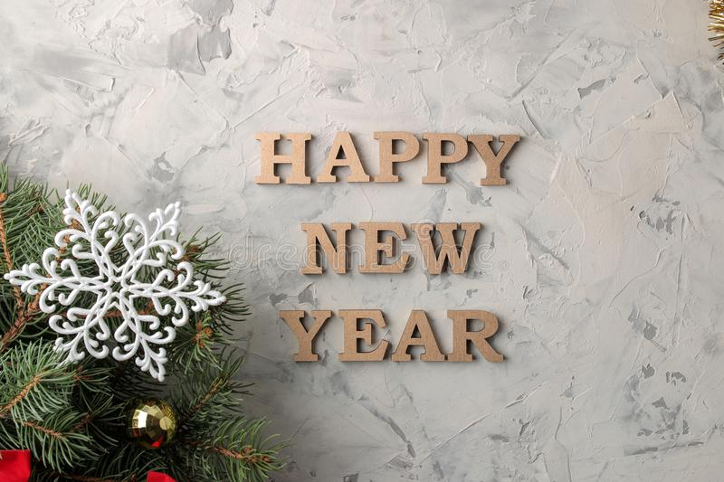 New Year 2019. Christmas. Vacation. Composition with Christmas and New Year tree branches and the inscription Happy New Year. view stock images