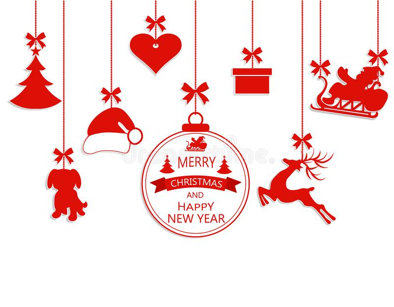 New Year Christmas. Various hanging ornaments, Santa hat, reindeer, heart, gift, dog and Christmas tree isolated on royalty free illustration