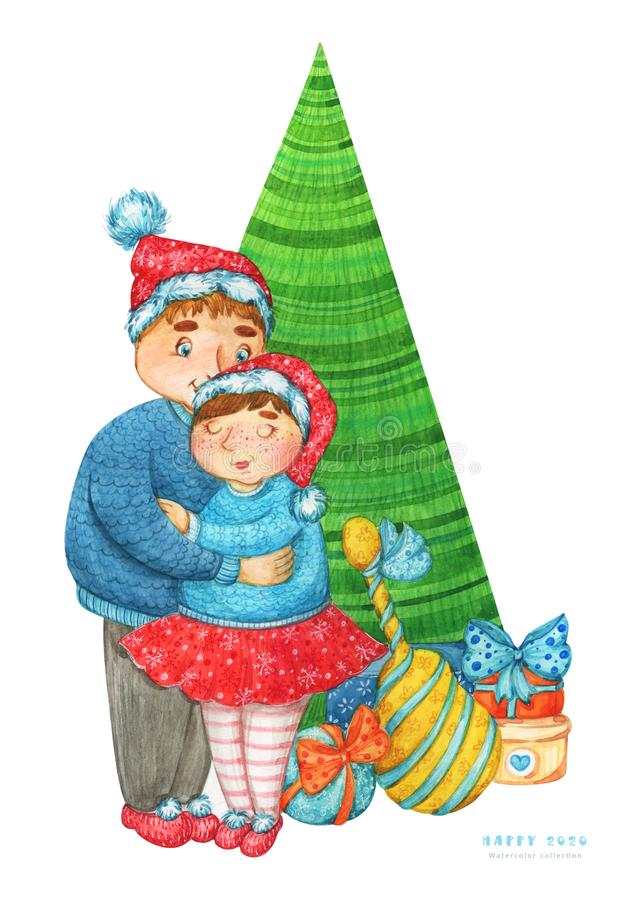 2020 New Year, Christmas watercolor illustration of a young merry couple in red snowflake patterned hats under the Christmas tree. royalty free illustration