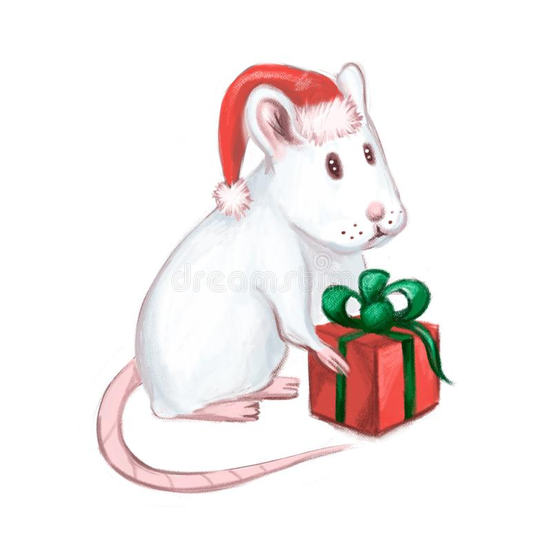 New year or christmas white mose with red and green present. Chinese Zodiac animal. Year of Mouse. Year of Rat. New year or christmas white mose with red and royalty free illustration