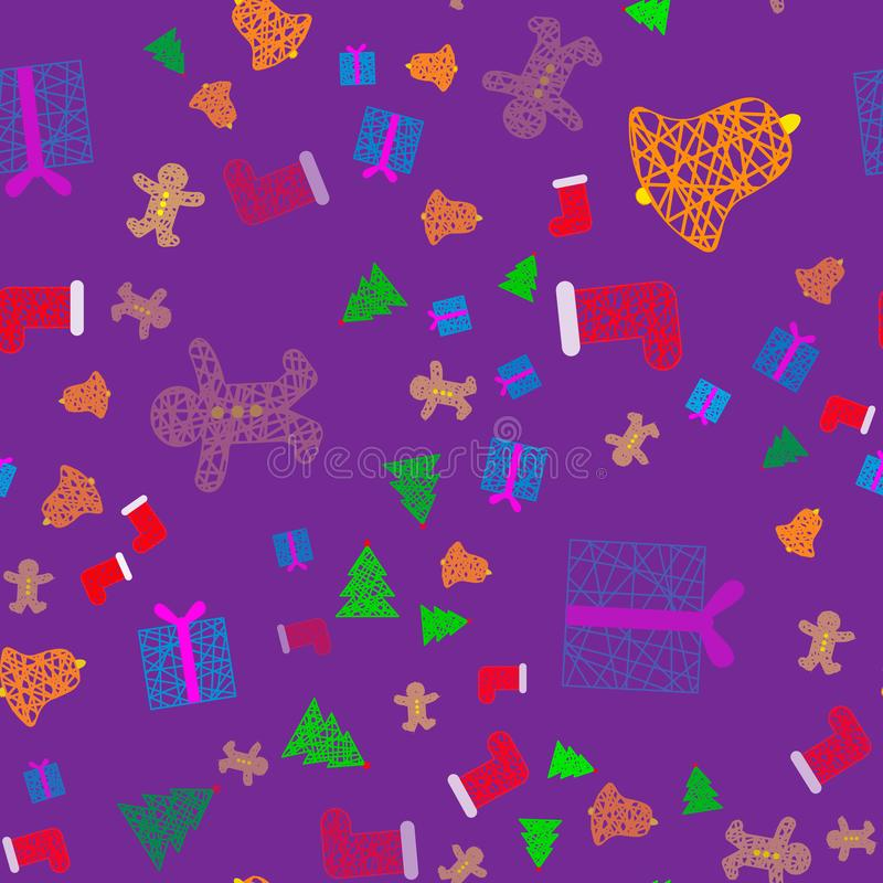 New Year Christmas winter holidays color seamless pattern with gifts, gingerbread, christmas tree and toys. 10 vector illustration