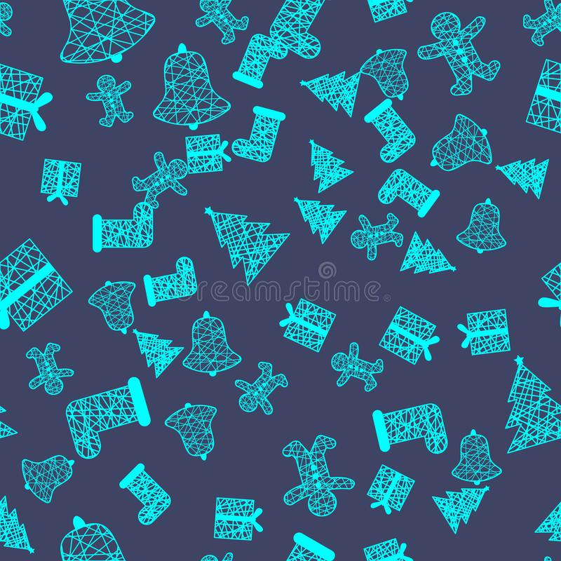 New Year Christmas winter holidays seamless pattern with gifts, gingerbread, christmas tree and toys. 10 stock illustration